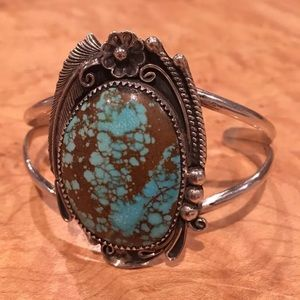 Unique Vintage Navajo Sterling Turquoise Cuff